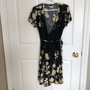 Yellow flowery wrap dress